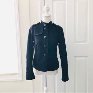 4/$25 Gap Black Wool Short Ruffle Military Jacket